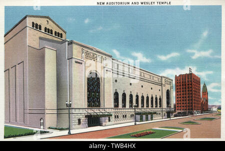 Nouvel Auditorium et Wesley Temple, Minneapolis, Minnesota, USA. Date: 1935 Photo Stock