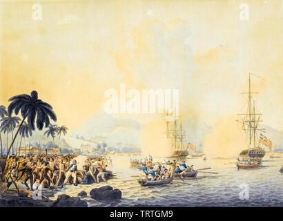 Décès du capitaine James Cook, peinture, vers 1787 Photo Stock