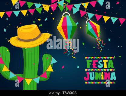 Heureux Festa Junina carte de voeux illustration pour la célébration du festival traditionnel brésilien. Cactus colorés et chapeau de paille avec texte citation. Photo Stock