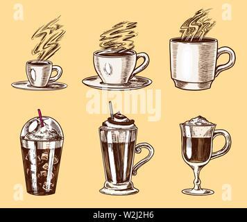 Ensemble de tasses de café dans le style vintage. Cappuccino à emporter et glace, machine à expresso et latte, moka et Americano, frappe dans un verre. Hand drawn Photo Stock