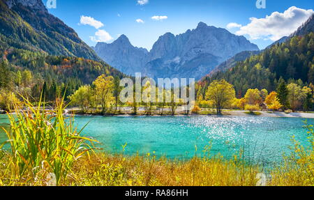 Jasna Lake, parc national du Triglav, Alpes Juliennes, en Slovénie Photo Stock
