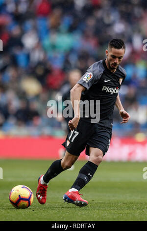 Santiago Bernabeu, Madrid, Espagne. 19 Jan, 2019. La Liga football, Real Madrid contre Séville ; Pablo Sarabia de Séville en action pendant le match : Action Crédit Plus Sport/Alamy Live News Photo Stock