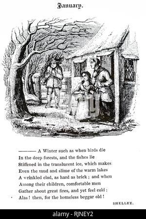 Une gravure représentant un chalet d'avoir ramené une charge de bois de chauffage Photo Stock
