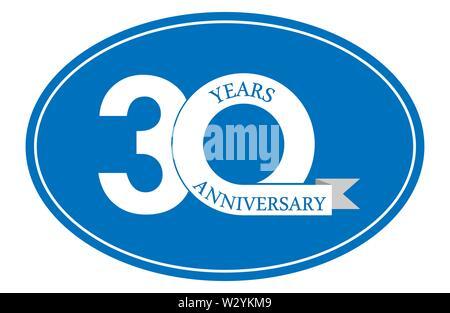 30 ans anniversaire inscription sur ovale bleu, design plat simple Photo Stock