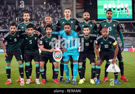 21 janvier 2019, Zayed Sports City Stadium, Abu Dhabi, Émirats arabes unis ; football coupe d'Asie de l'AFC, ronde de 16 ans, Emirats Arabes Unis contre le Kirghizistan. Photo Stock