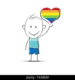 Garçon cartoon dessiné à la main tenant un cœur en couleurs LGBT Photo Stock