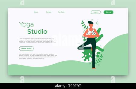 Yoga Studio Modèle de page d'atterrissage ou d'affaires web cours en ligne avec femme posture de l'arbre de l'exercice. Photo Stock