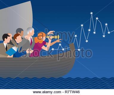 Les gens d'affaires perdu en mer trouver la voie à suivre Photo Stock