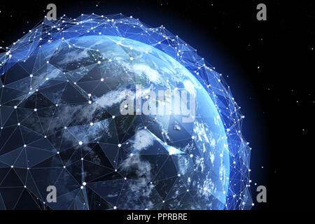 Champ d'information autour de la Terre. Éléments de cette image fournie par la NASA .3D illustration Photo Stock