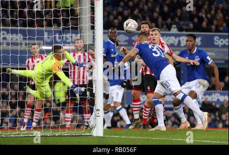 RICHARLISON EFFACE-le ligne de but, FC Everton V LINCOLN CITY, unis en FA Cup, GOODISON PARK, Everton, en Angleterre, 05 Janvier 2019 Photo Stock