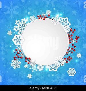 Noël vecteur bannière avec flocons de papier blanc et baies rouges sur fond bleu Photo Stock