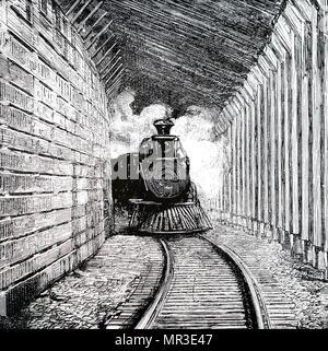 Illustration représentant un train dans un Snowshoed en bois dans la chaîne Selkirk, au Canada. En date du 19e siècle Photo Stock