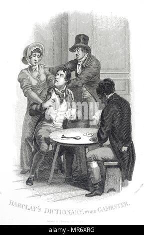 Gravure représentant une femme essayant d'enlever son mari de la table de jeu. Illustré par William Marshall Craig (1765-1827) un peintre anglais. En date du 19e siècle Photo Stock