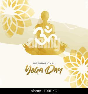 Yoga International Day Greeting card illustration. Aquarelle art de la femme et de l'exercice pose lotus floral background. Photo Stock