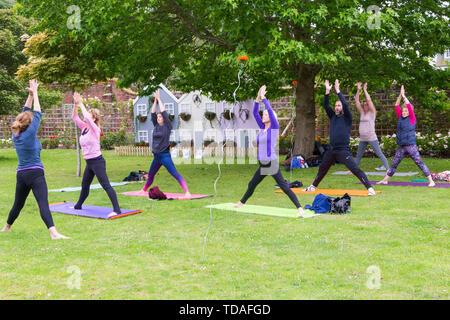 Christchurch Dorset, UK. 14Th Jun 2019. Le 2e FlowerFest a lieu dans la ville historique de Christchurch, soutenir localement occupent MacMillan brique par brique appel. Nous avons tous besoin de TLC et ensemble nous lient la Communauté avec des projets particulièrement floral, nature ou le jardin. Aujourd'hui est le premier jour de l'événement de trois jours où les visiteurs peuvent suivre un sentier de fleurs autour de la ville. Le Hatha Yoga dans la roseraie de la Maison du parc. Credit: Carolyn Jenkins/Alamy Live News Photo Stock