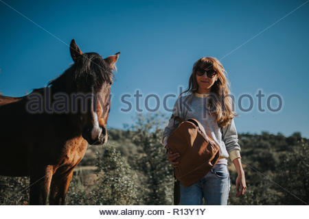 Une femme et un cheval dans un champ Photo Stock