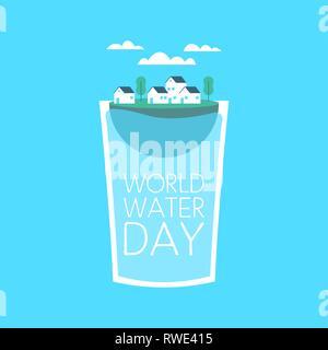 Journée mondiale de l'illustration pour le changement climatique et de l'environnement concept care. Petite ville à l'intérieur flottant verre à boire. Photo Stock