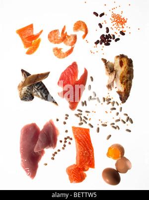 Ingrédients de la salade, des aliments riches en protéines d'utiliser dans les salades. Photo Stock
