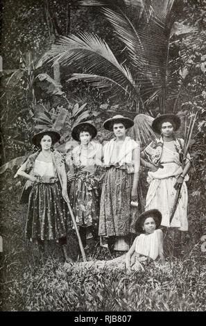 Les travailleuses de mulâtre sur une plantation de sucre, Martinique, Antilles (alors colonie française). Photo Stock