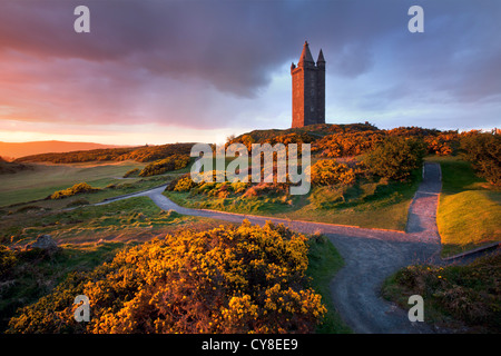 À la tombée de la tour Scrabo, Newtownards - Irlande du Nord. Photo Stock
