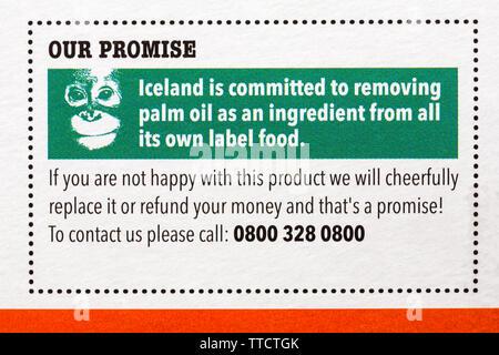 L'Islande s'est engagé à éliminer l'huile de palme comme un ingrédient de l'ensemble de ses propres marques maison - promesse sur fort de l'Islande le caramel et vanille 6 plots Photo Stock
