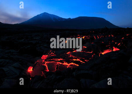 Volcan Tolbachik, péninsule du Kamchatka, Russie Photo Stock