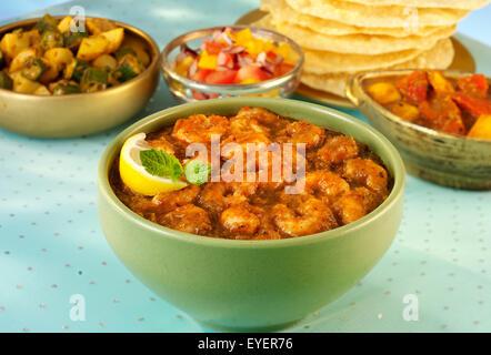 Cachemire indien/CREVETTES CURRY DE FRUITS DE MER CREVETTES Photo Stock