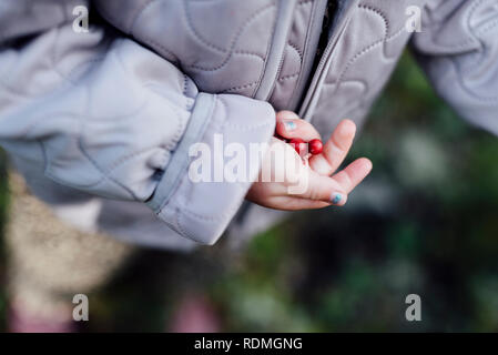 Childs hand aux fruits rouges Photo Stock