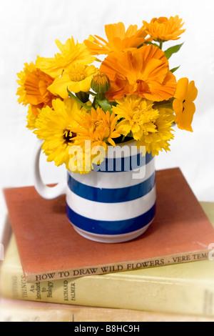 Orange et jaune mixte fleurs coupées dans un vase bleu cornouaillais traditionnel Photo Stock
