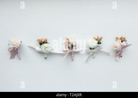 Bouquets de mariage dans une rangée Photo Stock
