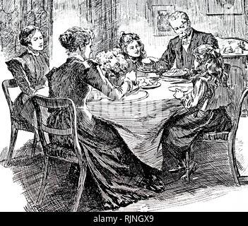 Une gravure représentant un thé l'après-midi. En date du 20e siècle Photo Stock