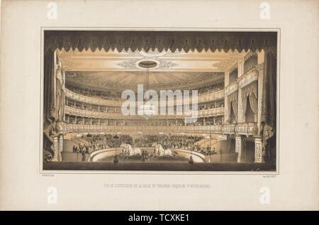 Intérieur de l'Equestrian Circus Theatre à Saint-Pétersbourg, 1850. Collection privée. Photo Stock