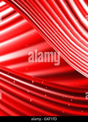 Stars tombent sur le fond de rayons rouges. Photo Stock