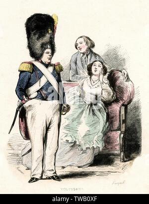 La Garde nationale française (Voltigeur) Date: 1850 Photo Stock