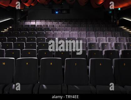 Coin salle de projection. Pálás Cinéma, Galway, Irlande. Architecte: dePaor, 2017. Photo Stock
