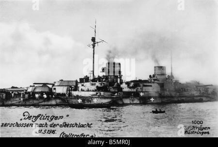 9 1916 531 A1 2 e Guerre mondiale, une guerre mondiale 1916 Skagerrak Jutland Un 1914 18 bataille du Jutland Skagerrak Photo Stock