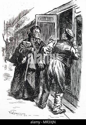 Caricature montrant une femme demande le personnel de la gare de train dont elle a besoin. En date du 20e siècle Photo Stock