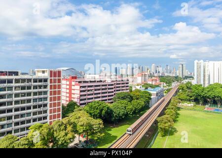 Cityscape de Geylang, zone Kallang surplombant le centre-ville de Singapour Photo Stock