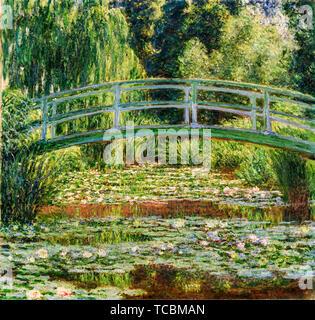 Claude Monet, le pont japonais et le nénuphar Piscine, Giverny, peinture, 1899 Photo Stock