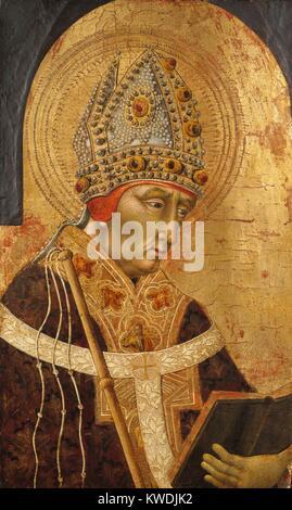 ST. AMBROSE, de Giovanni di Paolo, 1465-70, la peinture italienne de la Renaissance, tempera sur bois. Ambrose était Photo Stock