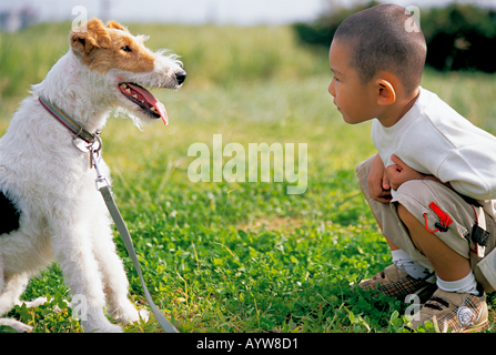 Garçon avec un chien Photo Stock