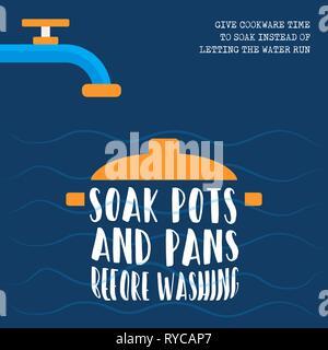 La Journée mondiale de l'eau durable eco friendly illustration avec le style de cuisine, faire tremper avant de les laver. Photo Stock