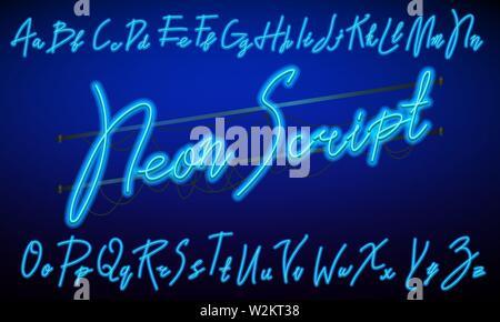 80 s blue purple retro font. Script futuriste, chrome lettres. Alphabet clair sur fond sombre. Symboles de la lumière de nuit show en club. Espace galaxie Photo Stock
