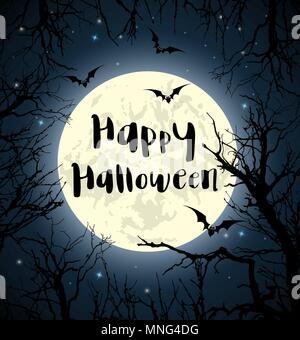 Carte de souhaits pour l'halloween avec la pleine lune, les chauves-souris et arbre. Vector illustration Photo Stock