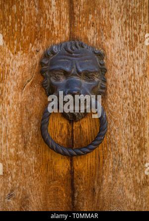 Heurtoir ouvragé avec une tête de lion, Vénétie, Venise, Italie Photo Stock