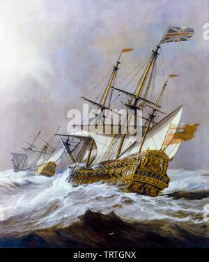 HMS Resolution dans un gale, peinture, 1678 Photo Stock