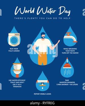 La Journée mondiale de l'eau infographie illustration avec l'information sur l'aide ménagère à domicile. Salle de bains, tuyaux d'eau courante et d'activités pour connaître c Photo Stock