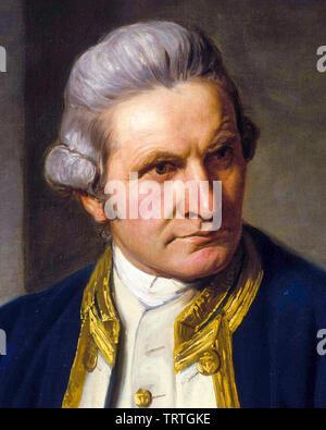 Le capitaine James Cook, 1728-1779, portrait, 1776 Photo Stock