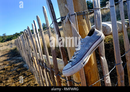 Vieille clôture de Plimsoll, holkham beach, North Norfolk, Angleterre Photo Stock