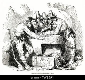 Groupe de bandits divisant des crédits entre eux-mêmes, de l'Italie. Date: début du 19ème siècle Photo Stock